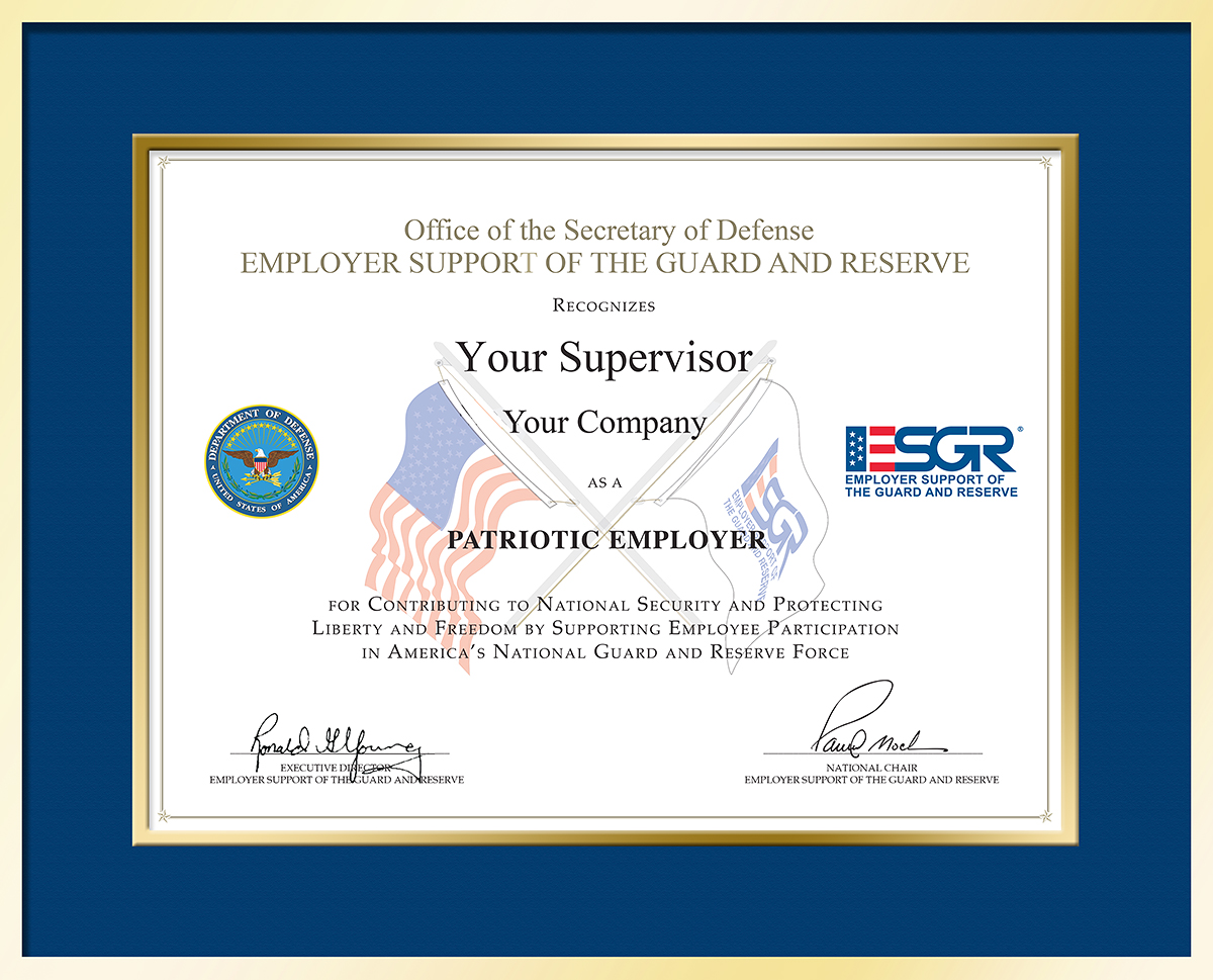 Employer Support Of The Guard And Reserve Employer Awards